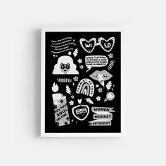 Wild Feminist - Monochrome – Paper Edited Online Printing Services, Bold Prints, Printable Art, Monochrome, Paper, Illustration, Artwork, Work Of Art, Monochrome Painting