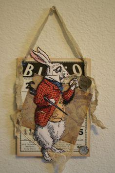 Alice in Wonderland White Rabbit Altered Bingo Card Bingo Board, Mad Hatter Party, Altered Art, Alice In Wonderland, Scrap, Arts And Crafts, Collage, Art Cards, Crafty
