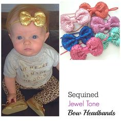 Sequin Bow Headband Gold Baby Headband Pink Bow by luxieblooms