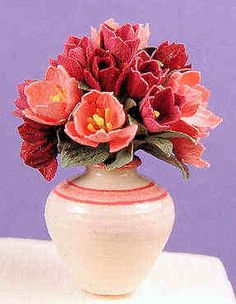 Ed Sims, IGMA Fellow - Flower arrangement - apricot and rose colored tulips, Eileen Vernon, Vernon Pottery - vase