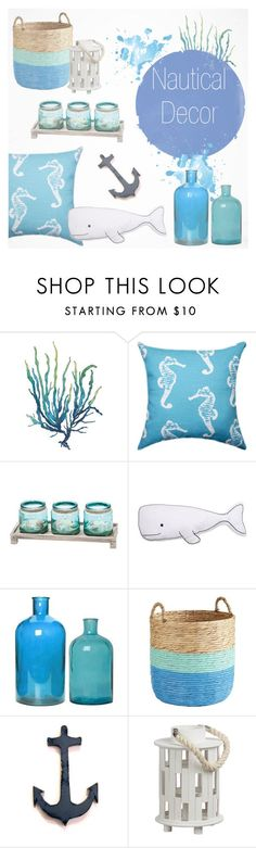 """Nautical Decor~"" by southernpearldesigns ❤ liked on Polyvore featuring interior, interiors, interior design, home, home decor, interior decorating, Pier 1 Imports and Pomax"