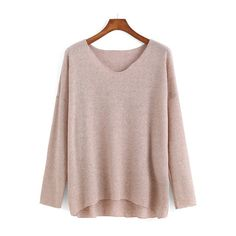 SheIn(sheinside) V Neck Dip Hem Apricot Sweater (335 MXN) ❤ liked on Polyvore featuring tops, sweaters, sheinside, shirts, apricot, v neck sweater, pullover sweater, loose long sleeve shirt, brown long sleeve shirt и long sleeve shirts