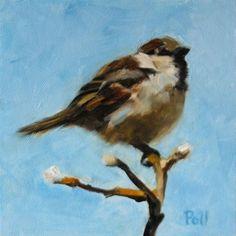 """""""Spring Sparrow"""" - Original Fine Art for Sale - © Pamela Poll"""