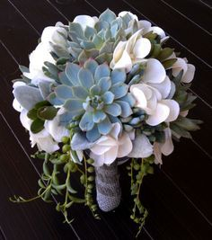 succulent wedding bouquet, by A Touch of Succulents