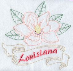 Louisiana - Magnolia (Redwork)