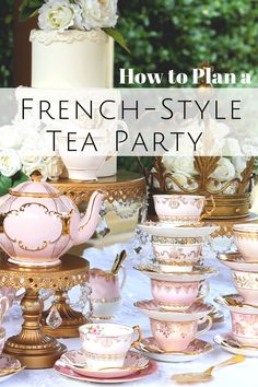 "A French High Tea Party inspired by The La Belle Epoque ""the Beautiful Era""of the late in France. It was the French gilded age of opulence, luxurious elegance and extravagant home-based entertaining. Tea Party Theme, Tea Party Wedding, Tea Party Birthday, High Tea Wedding, Tea Party Menu, French Tea Parties, Vintage Tea Parties, Vintage High Tea, French Themed Parties"