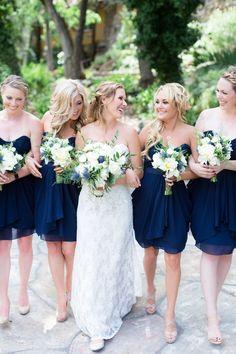 Bridesmaids Navy Blue Strapless Dresses Nude Shoes Roses Peonies Eryngium Ranunculus Bouquets | Centerville-Estate-Wedding-Photographer-Chico-California-TréCreative