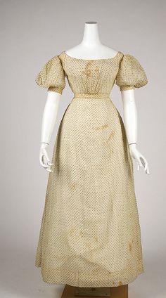 Cotton dress with metallic gold thread polka dots, American, ca. 1820s.