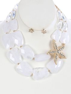 DOUBLE LAYER STARFISH CHUNKY BIB NECKLACE AND EARRING SET