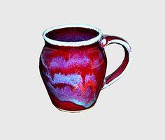 12 oz round handmade pottery coffee mug - wild plum