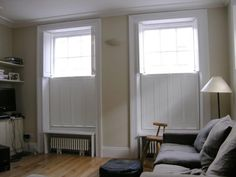 Solid shutters - Traditional solid wooden shutters for increased insulation and privacy Traditional Interior Shutters, Wooden Shutters Interior, Wooden Shutters Indoor, Cottage Shutters, Wooden Window Shutters, Interior Windows, English Cottage Interiors, Georgian Interiors, Victorian Windows