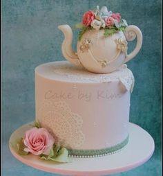 64 Ideas For Vintage Wedding Cake Designs Tea Cups Apple Tea Cake, Cinnamon Tea Cake, Lemon Tea Cake, Wedding Shower Cakes, Fondant Wedding Cakes, Tea Party Bridal Shower, 75 Birthday Cake, Tea Party Birthday, Fur Vintage