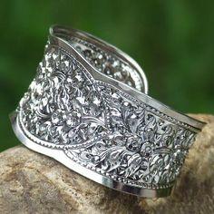 Floral Sterling Silver Cuff Bracelet - Frangipani Princess | NOVICA
