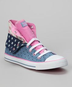Loving this Pink & Blue Polka Dot Twist Me Convertible Hi-Top Sneaker on #zulily! #zulilyfinds