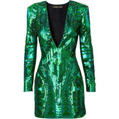Balmain x H&M: Green Sequins Dress ❤ liked on Polyvore featuring dresses, balmain, sequin, short dress and vestidos