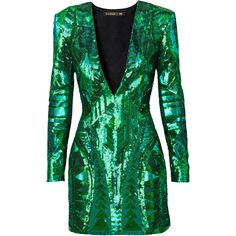 Balmain x H&M: Green Sequins Dress ❤ liked on Polyvore featuring dresses, balmain, sequin, short dress and vestidos