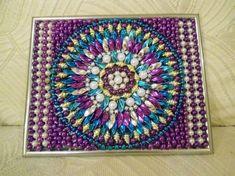 Recycled Mardi Gras Bead Art FAITH Mosaic by JemBeadArt on Etsy