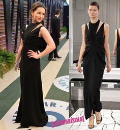 Emilia Clarke de Balenciaga y las chicas de negro en la fiesta de Vanity Fair post #Oscars2014