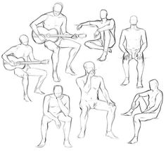 Male figure drawing sketches, 2 w/ classical guitar Drawing Body Poses, Body Reference Drawing, Anime Poses Reference, Anatomy Reference, Posture Drawing, Anatomy Sketches, Anatomy Drawing, Art Sketches, Human Sketch
