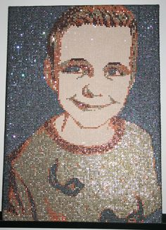 Portrait made with 16.000 Sequins. By Herline.