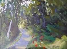 "Landscape Artists International: Small Landscape Painting, Daily Painting, Small Oil Painting, ""Entering Light"" by Carol Schiff, 6x8"" Oil"