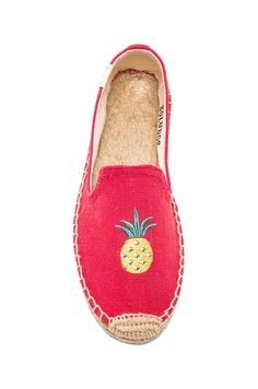 Soludos Linen Pinapple Smoking Slipper in Coral | REVOLVE