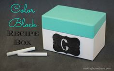 Recycled Color Block Recipe Box via makinghomebase.com