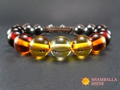 Multicolor amber beads Gemstone boho bracelet Brown amber jewelry Amber women bracelet Boho amber jewelry Healing energy beads