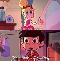 """I would like to point out how Star takes this complement vs the one that Tom gives her later in the episode. When Marco says she looks nice, Star gets all gushy and says """"Thanks"""". But when Tom says she looks nice, Star backs away from him, and she seems kind of creeped out when she says """"Thank you, I guess"""". If you need anymore evidence of Starco than that, you're blind"""