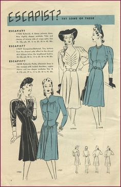 Butterick Fashion News, November 1941.  Love the shaping/ruching on 1706, and the bodice darts on 1698A.  |  http://newvintagelady.blogspot.com/2013/01/catalog-sunday_13.html#more