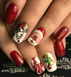 Nail Art Design 60 Christmas Nails Offers You a Special Look at the Festival - chic better Nail Art Halloween, Xmas Nail Art, Cute Christmas Nails, Xmas Nails, New Year's Nails, Christmas Nail Art Designs, Holiday Nails, Hair And Nails, Gel Nails