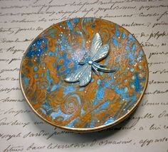 Turquoise Gold Dragonfly Ring Holder Zen Ring Dish polymer