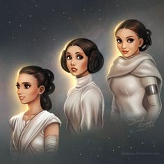 d a e k a z u- Star Wars Generations: Rey, Leia and Padme - I love how they are connected! Pics: 20, 21, 22/365 (I drew one every day)