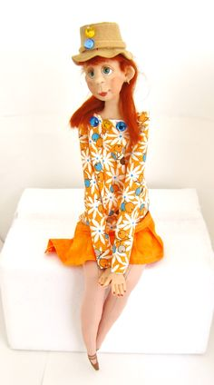 Ooak clay and cloth handmade art doll