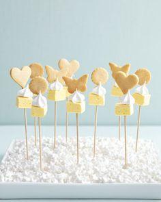 Lemon-meringue cookie kebabs: lemon marshmallows, meringue kisses, and sugar cookies on skewers. Yum!