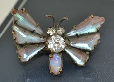 Antique RARE Victorian SAPHIRET BUTTERFLY Insect BROOCH / Lace Pin - Unusual