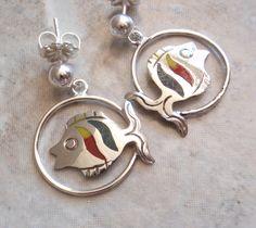 Sterling Fish Earrings Red Green Yellow Enamel Mexican Silver Pierced Posts Vintage 052714BKH by cutterstone on Etsy