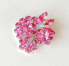 Vintage Eisenberg Ice Brooch Vintage Pink Rhinestone Brooch 1960s Signed Designer Pin