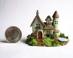 Handmade Miniature FAIRY  COTTAGE HOUSE WITH WATER POND - OOAK by C. Rohal #CRohal