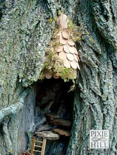 25 Cute DIY Fairy Furniture and Accessories For an Adorable Fairy Garden Fairy Tree Houses, Fairy Village, Fairy Garden Houses, Gnome Garden, Fairy Gardens, Fairy Doors On Trees, Miniature Gardens, Garden Pots, Potager Palettes