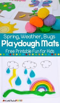 Kids will have so much fun decorating these spring themed playdough mats including bugs, flowers, and more. The printables are created to spark imagination and creativity. Preschool Activities At Home, Playdough Activities, Art Therapy Activities, Indoor Activities For Kids, Games For Toddlers, Spring Activities, Toddler Activities, Fun Activities, Play Activity