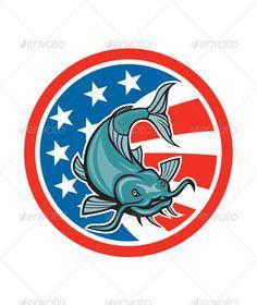 Catfish Swimming American Flag Circle Cartoon