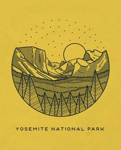 This logo uses simple design skills to create an intricate scene of the Yosemite National Park. Although this is probably too intricate for my project, it is very interesting. California National Parks, Yosemite National Park, Into The Wild, Illustrations, Illustration Art, Line Art, Mellow Yellow, Animation, Graphic Design Inspiration