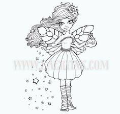 Fairy Dust Long Hair Fairy Stars Big Eyes Girl Digital by FaeryInk, $3.00