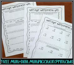 FREE Multi-Digit Multiplication Printable pages.  PERFECT for an assessment or review!