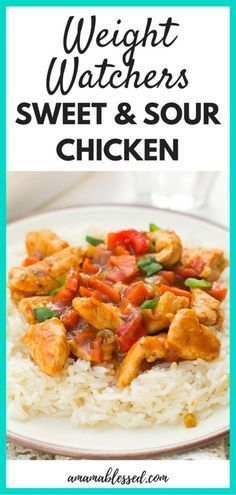 Weight Watchers Sweet and Sour Chicken on a bed of white rice