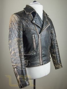 Vintage Motorcycle City Leather Biker Jacket With Patina image four