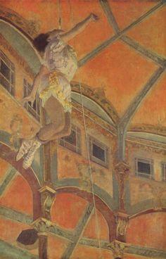 """Edgar Degas, Miss Lala al circo Fernando, olio su tela,1879, National Gallery, Londra. Tela sicuramente meno nota rispetto alla """"Classe di danza"""" (1873-76 ca, Museo d'Orsay) ma del tutto stupefacente ed innovativa. Ancora una volta Degas un'impaginazione originale, che sottolinea il momento del ritratto e preferisce ambienti interni a paesaggi o vedute esterne."""