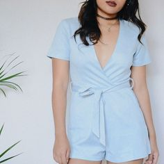 Kyria Suede Romper in Sky Blue  link in bio to shop! #shopdevi available in 2 other colors!