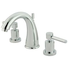 """Two Handle 8"""""""""""""""" to 16"""""""""""""""" Widespread Lavatory Faucet with Brass Pop-up - Polished Chrome"""